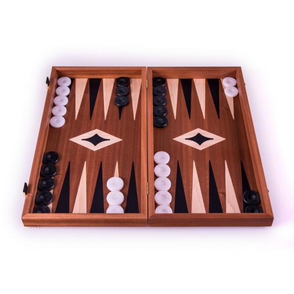 Set joc table/backgammon cu tabla de sah la exterior– lemn de mahon inlaid – 47,5 x 50 cm-big
