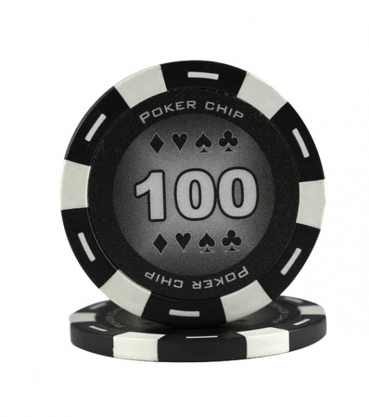 Jeton Poker Chip 11.5g - Culoare Negru - inscriptionat (100)-big