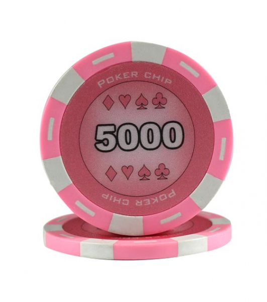 Jeton Poker Chip 11.5g - Culoare Roz - inscriptionat (5000)-big