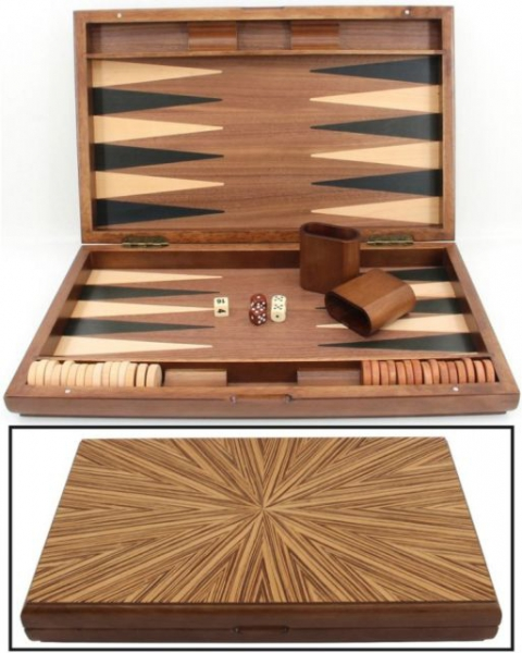 Set joc table / backgammon - lemn de arbore de cauciuc - 49x60 cm-big