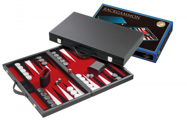 Set joc table/Backgammon in stil Casino Mediu - 45x57 cm - Rosu-big