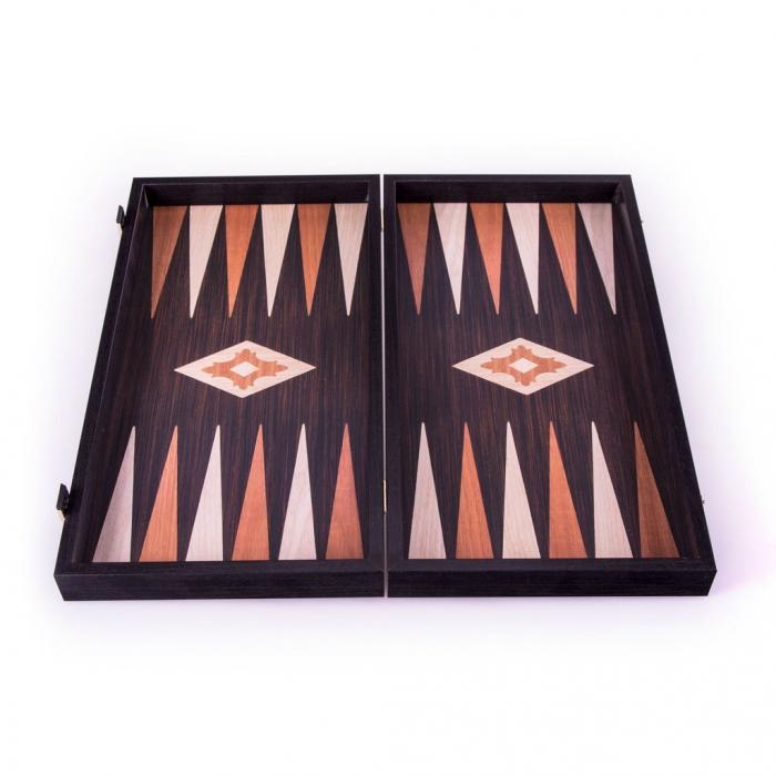 Set joc table/backgammon - aspect lemn wenge - 47,5cm-big