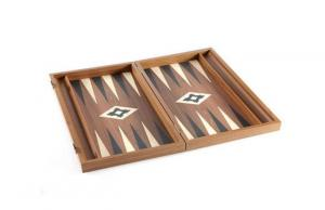 Set joc table/backgammon lemn cu aspect de nuc – 47,5 x 60 cm